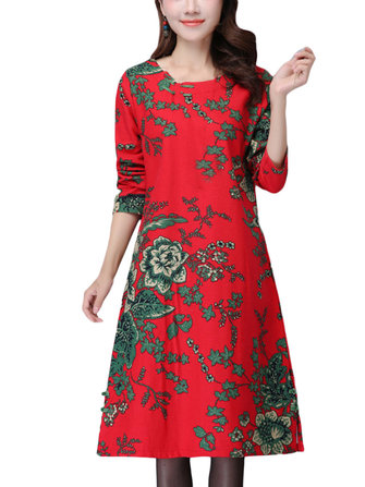 Thick Vintage Linen Floral Printed Long Sleeve Round Neck Women Dress