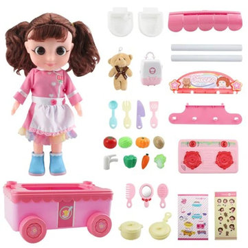 Tairedie T1001B Pretend Play Kitchen Toys Set Doll Dressing Bag Chef Engineering Clothes With Packaging