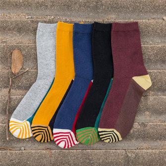 Men Cotton Multicolor Socks Fashion Spell Color Soft Breathable Casual Tube Long Socks