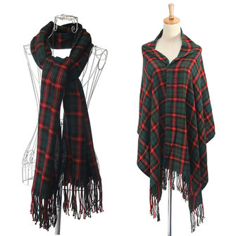 Women Ladies Plaid Tartan Scarf Oversized Neck Tassel Shawl Checked Wrap Stole