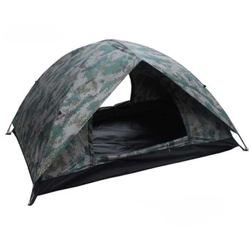 Single Layer 1-2 Persons Camouflage Camping Tent Portable UV Waterproof Sunshade Canopy
