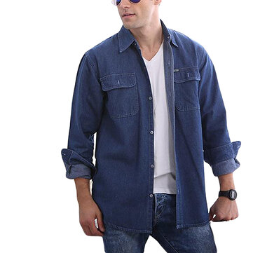Fashion Casual Loose Water Washed Cotton Denim Shirts Coat