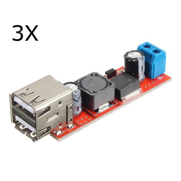3Pcs Dual USB 9V/12V/24V/36V to 5V Converter DC-DC 3A Step Down Power Module