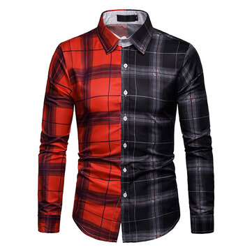 Men Plaid Patchwork Long Sleeve Shirts