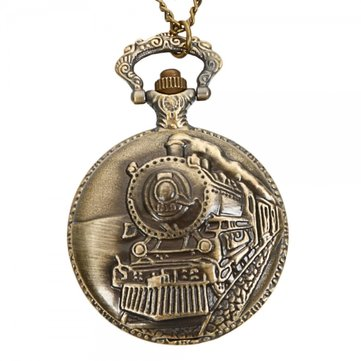 DEFFRUN Vintage Train Pattern Retro Bronze Quartz Pocket Watch