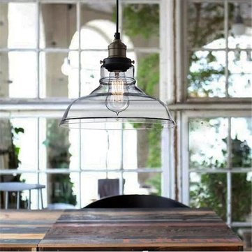 E27 28CM Vintage Industrial Ceiling Lampshade Glass Pendant Lights