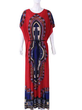 Plus Size Bohemian Flared Sleeve Strap Long Dress