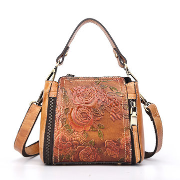 Brenice Women Retro Genuine Leather Bucket Handbag Hand Embossed Craft Flower Crossbody Bag