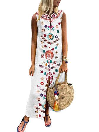 Women Sleeveless Boho Floral Print Split Casual Long Maxi Dress