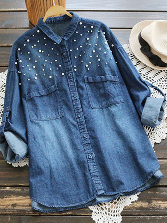 Mori Girl Button Denim Blouse with Beads