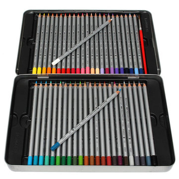 48 Colors Wooden Craft Water Soluble Drawing Pencils with A Paint Brush Metal Box Set