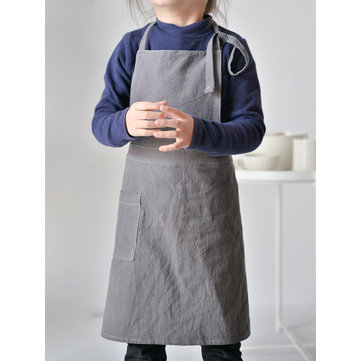 Children Girls Cotton Linen Aprons Dress with Pockets