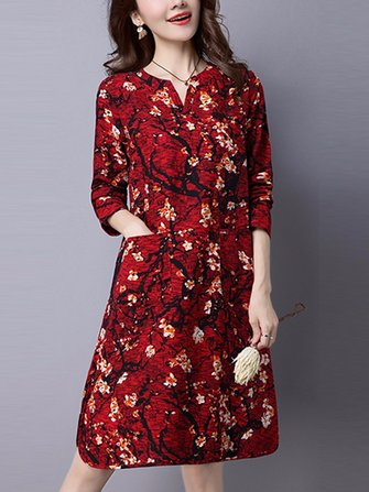 Women Casual Floral Printed Pocket Long Sleeve Side Slit Dress