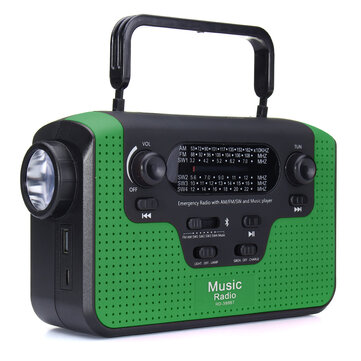 Solar Powered Portable Bluetooth Speaker Audio Radio AM FM SW SD Card Hand Crank
