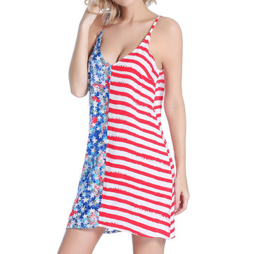SWIMMART Women Loose Double V Star Printed Stripe Backless Beach Dress Cover Up