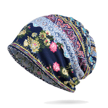 Women Winter Cotton Multi-purpose Flower Printing Beanie Cap Neck Gaiter Warm Face Shield Hats