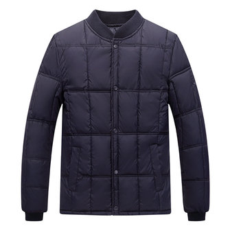Mens Winter Warm Solid Color Baseball Collar Padded Jacket