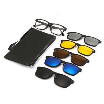 Magnetic Frame Six-in-one Sunglasses Glasses Frame Five-piece Sunglasses Retro Men And Women Polarized Sunglasses
