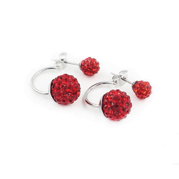 Silver Plated Double Side Earrings Crystal Ball Ear Stud