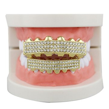 Joker Halloween Silver Mouth Teeth Deluxe Set 6 Row Bling Teeth