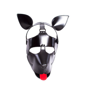 PU Leather Hood Head Mask Headgear Adult Adjustable Dog Bondage Slave Black