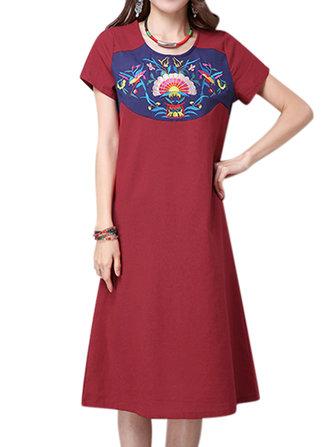 Las mujeres de manga corta de algodón bordado étnico mini-o-cuello del vestido
