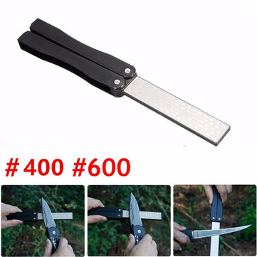 5 Inch Double Sided Folding Pocket Diamond Knife Sharpening Stone Sharpener 400&600 Grit