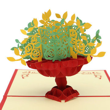 Hnadcrafted Treasure Bowl 3D Greeting Card Pop Up Greeting Card Invitation With Envelope