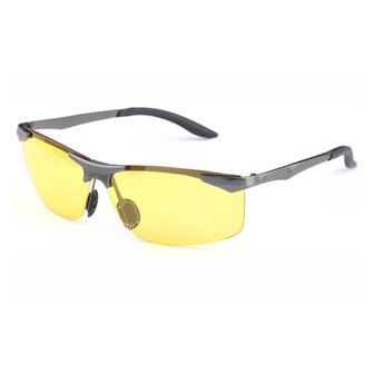 Men Anti-UV Night Vision Polarized Sun Glassess Brass Frame Glasses Anti Glare Driving Eyewear