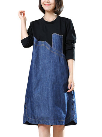 O-Newe L-5XL Fashion Lady Patchwork A-Line Denim Dress