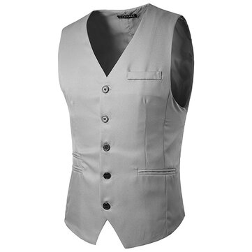 Mens Slim Fit Solid Color Single-breasted Buttons Waistcoat Fashion Business Casual Vest