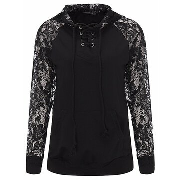 Sexy Casual S-5XL Women Lace Sleeve Pullover Hoodies