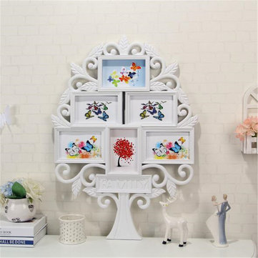 67*47cm White Family Tree Shaped Photo Frame Wall Mount Collage 6 Pictures Decor