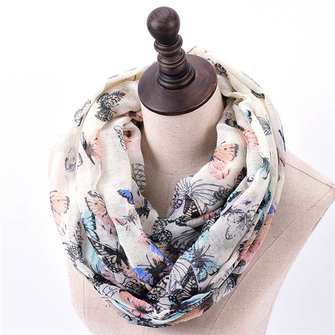 Women Butterfly Print Soft Scarf Casual Outdoor Autumn Warm Neck Neck Towel