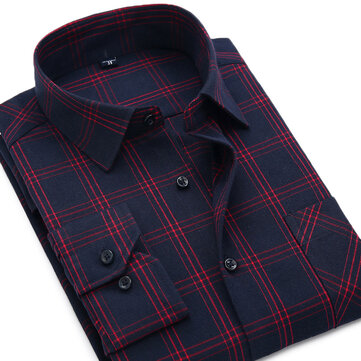 Mens Flannel Autumn Turn Down Collar Plaid Printing Long Sleeve Casual Shirts