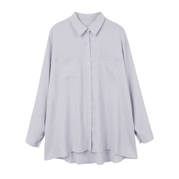 Casual Asymmetrical Solid Color Pocket Lapel Blouse For Women
