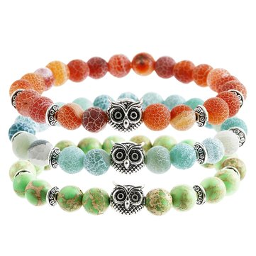 Trendy 8mm Natural Stone Elastic Owl Head Beads Bracelet