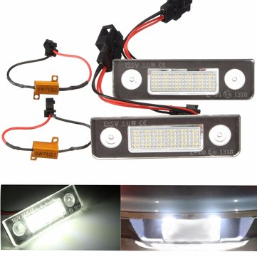 Pair White LED License Plate Light for Skoda Octavia 2008+ Roomster 5J 2006-2010