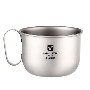 100% Titanium 500ml Outdoor Camping Picnic Water Cup Ultralight Portable Tea Mug Camping Cookware