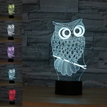 Owl USB Battery 3D LED Lights Colorful Touch Control Night Light Home Decor Gift