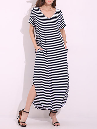 Casual Women Striped Slit Curved Hem V-Neck Maxi Dresses