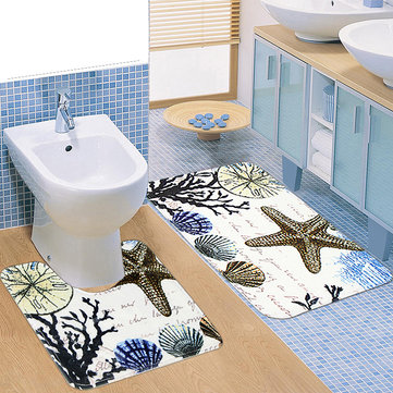 Two Pieces of Plants Shells and Starfish Slip Carpet Mats Bathroom Toilet Mat
