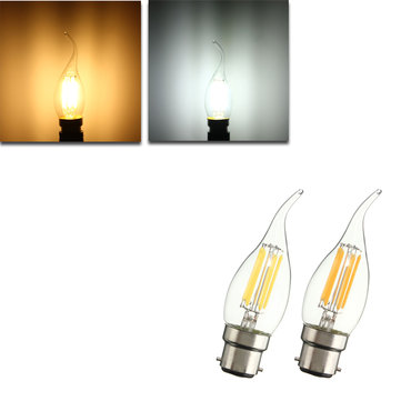 Dimmable C35 B22 6W Pure White Warm White COB Edison Retro Light Bulb AC220V