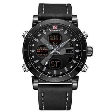 NAVIFORCE 9132 Dual Display Digital Watch Men Luminous Calendar Watch Leather Strap Watch