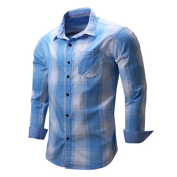Mens New Cowboy Long Sleeve Cotton Casual Plaid Printing Shirt