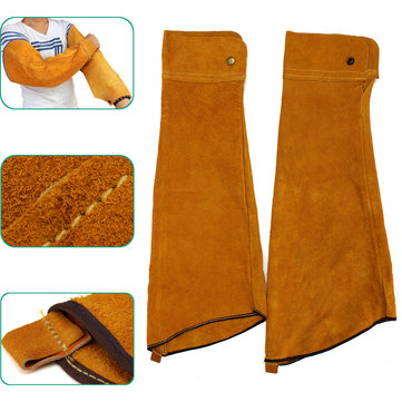 2pcs 23.6inch Cowhide Split Leather Welding Sleeves Protective Heat Arm Sleeve Tool
