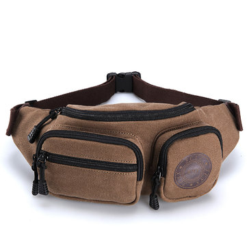 Canvas Multifunctional Retro Waist Bag Chest Bag Leisure Travel Crossbody Bag Phone Bag for Men