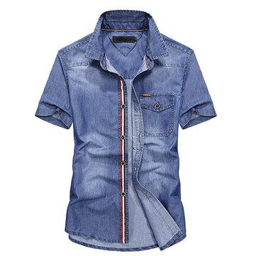 망 여름 패치 워크 거꾸로 고리 버스트 포켓 캐주얼 데님 맞추기 셔츠
