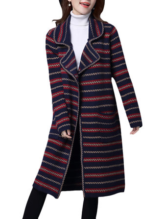 Elegante Vrouwen Down-Down Collar Striped Long Sleeve Long Sweater Cardigan