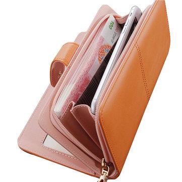 Женщины Засов Длинный кошелек Два Fold кошелек карты держатель для монет Сумки 5.5 «» Телефон Клатчи Сумки